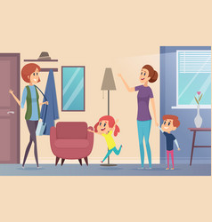 Nanny joyful preschool kids invite babysitter vector