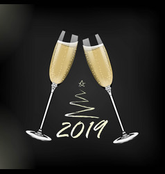New year glasses of champagnerealistic style vector