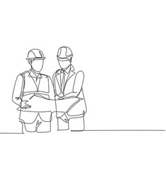one single line drawing young manager vector image