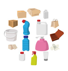 packaging cartoon icons set vector image