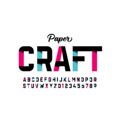 paper craft style font design vector image