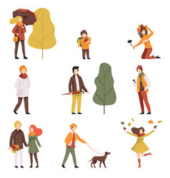 People in warm autumn clothes set young men and vector