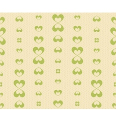 Retro Seamless Pattern with Green Hearts vector image