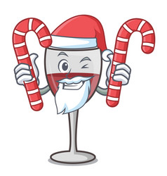 Santa with candy wine mascot cartoon style vector