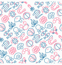 Seafood seamless pattern with thin line icons vector