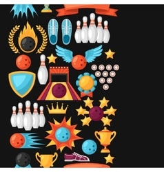 Seamless pattern with bowling items Background vector image
