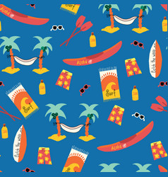 seamless pattern with palm tree hammock vector image
