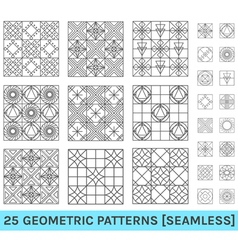 set 25 abstract geometric patterns zz vector image