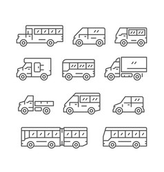 Set line icons of bus and van vector