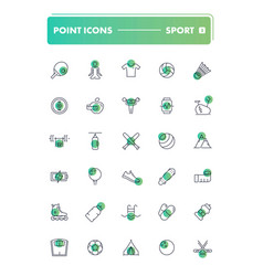 set of 30 line icons sport and recreation vector image