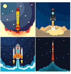 set of space rocket launch vector image