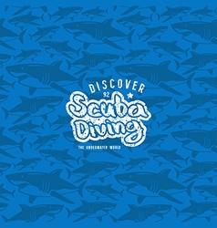 Shark seamless pattern and scuba diving emblem vector