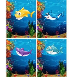 Sharks swimming under the sea vector image
