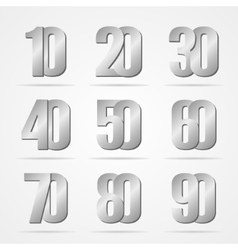 Silver font numbers vector