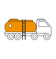 sketch color silhouette truck transporter of fuel vector image