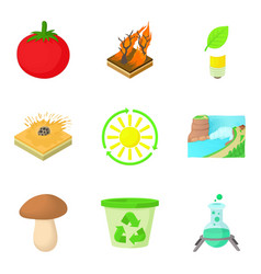 solar energy icons set cartoon style vector image