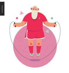 Sporting santa - rope jumping vector