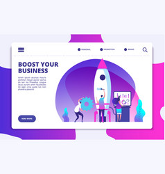 startup website landing page people launching vector image