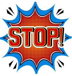 Stop word comic book pop art vector