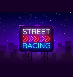 street racing night neon logo racing neon vector image