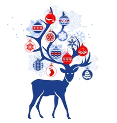 Stylized deer with christmas balls vector