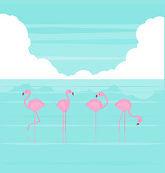 summer beach flamingos vector image