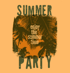 Summer party typographic grunge vintage poster vector