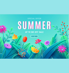 summer sale ad background with paper cut fantasy vector image