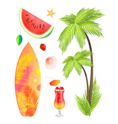 surfing board summertime icons vector image