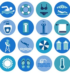 Swimming Pool beach icons vector