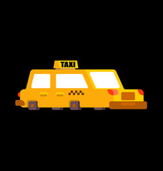 Taxi isolated yellow car transportation of people vector