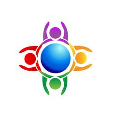teamwork earth people icon logo symbol vector image