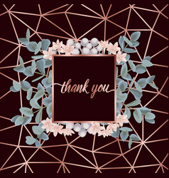 Thank you card with eucalyptus vector