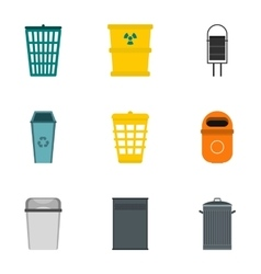 Trash can icons set flat style vector image