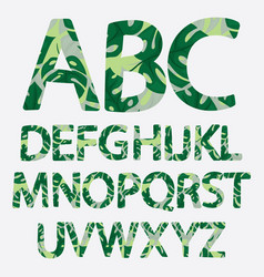 tropical alphabet made banana palm leaves vector image