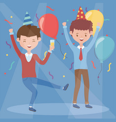two men happy drinking celebration party vector image