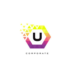 u colorful hexagon shaped letter logo design vector image