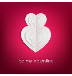 Valentines day background with white paper hearts vector image