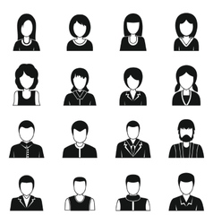 Various people icons set simple style vector