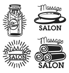 Vintage massage salon emblems vector