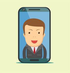 Virtual assistant - businessman hi-tech flat vector
