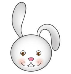 White cute rabbit head cartoon vector