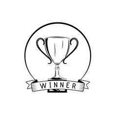 Winner retro emblem cup badge triphy label vector
