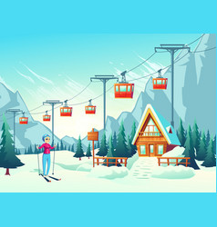 winter leisure in snowy mountains cartoon vector image