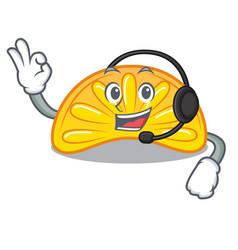 With headphone orange jelly candy mascot cartoon vector