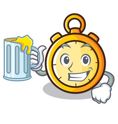 With juice chronometer character cartoon style vector