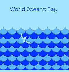 world oceans day symbolic waves whale tail vector image