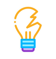 Wrecked lightbulb icon outline vector