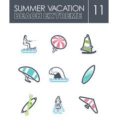 Extreme water sport icon set summer vacation vector