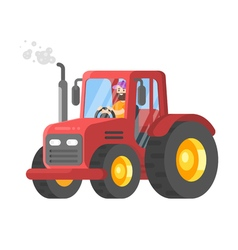 flat style of tractor-driver vector image vector image